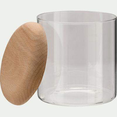 Boîte en verre transparent et couvercle en bois-Astaki