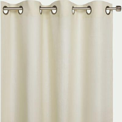 Rideau à œillets en lin - beige roucas 140x360cm-VALLON