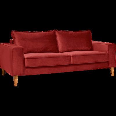 Canapé 3 places fixe en velours rouge sumac-CALIFORNIA