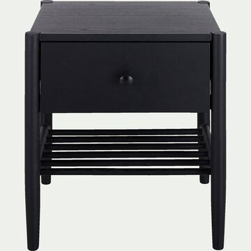 Table de chevet en bois avec tiroir - H55xL40xl45cm noir-PRADO