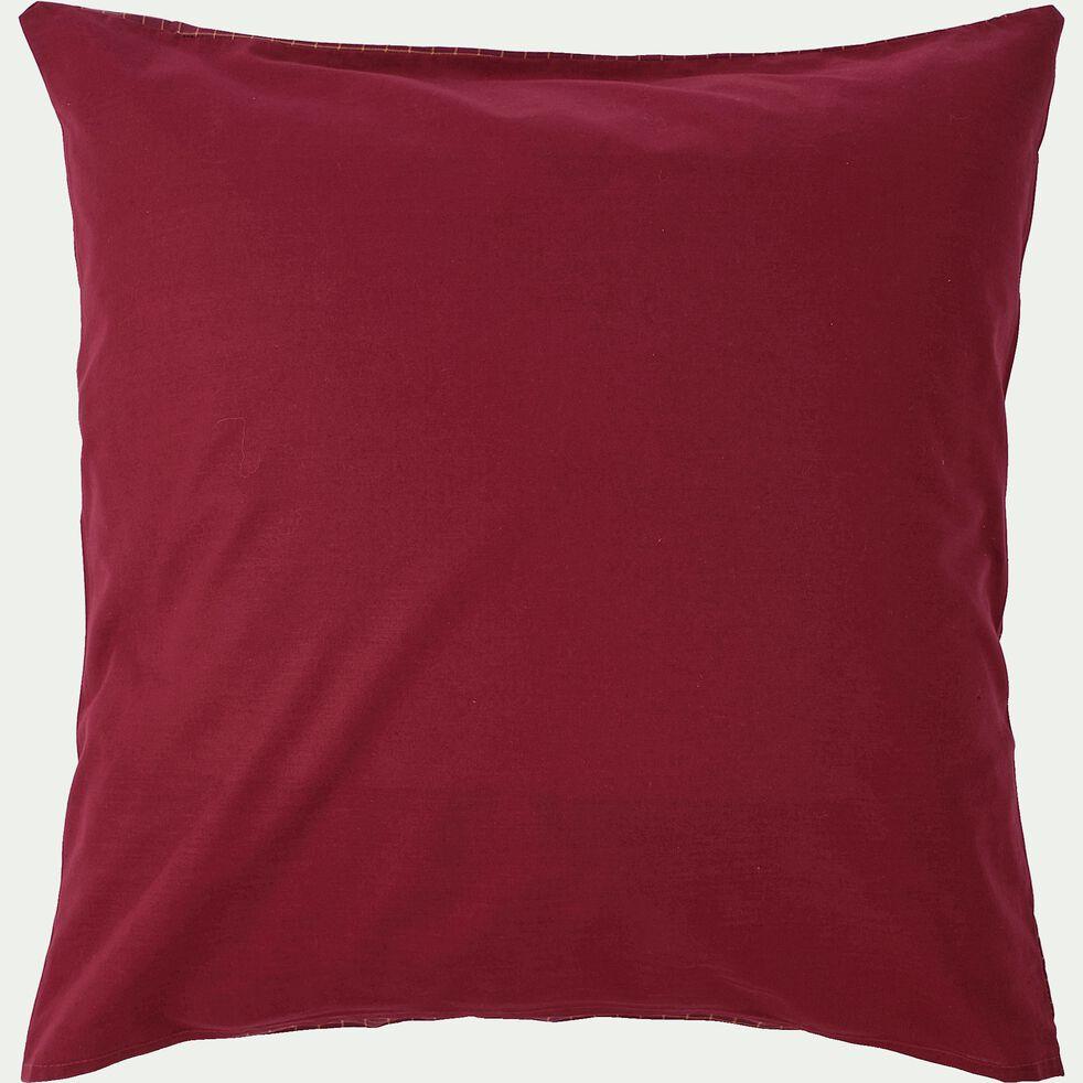 Housse de couette et 2 taies d'oreiller en coton - rouge 240x220cm-VICTOR