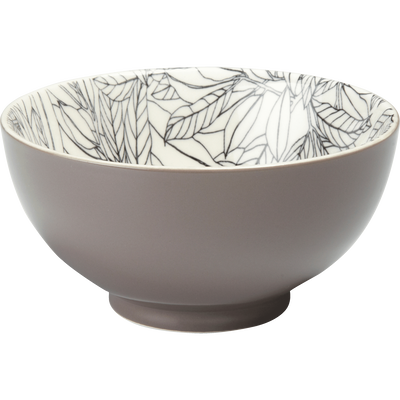 Coupelle en porcelaine brun châtaignier motifs laurier D11cm-AIX