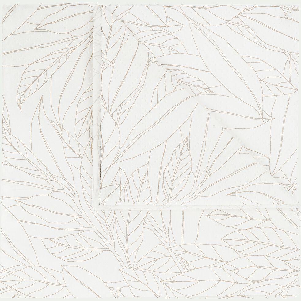 Lot de 100 serviettes en papier - motif laurier beige 33x33cm-UZES