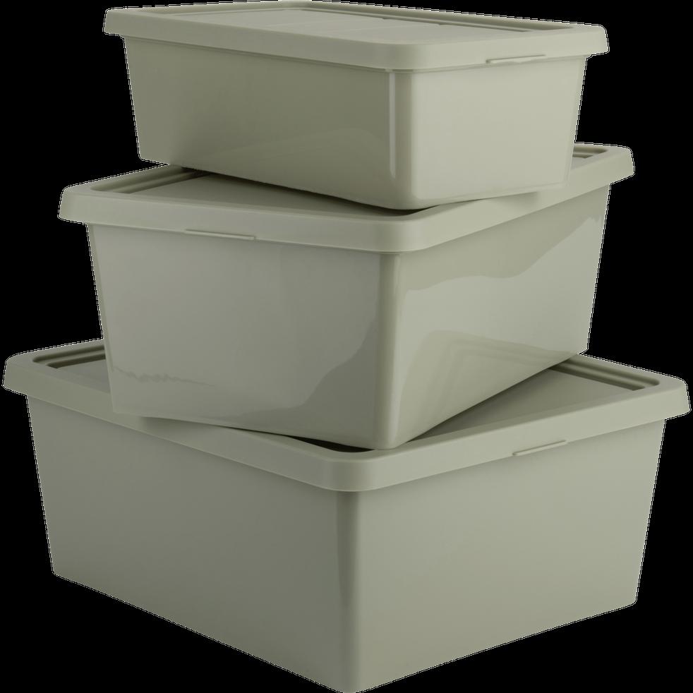 Boîte de rangement en plastique vert olivier H15,5xP27x40 cm-ANDATI