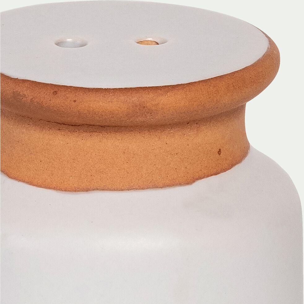 Set de salière et poivrière en grès - blanc - 5,5cm-ESQUIROU