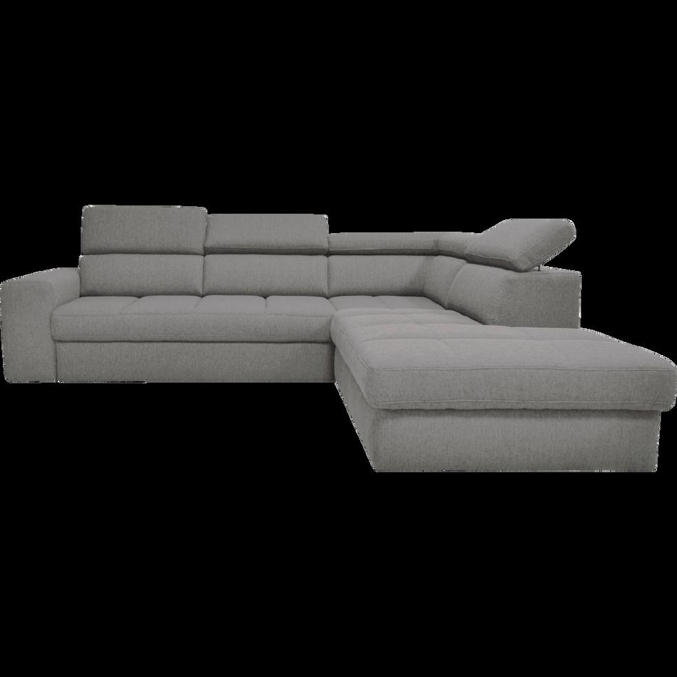 canap d 39 angle droit panoramique convertible en tissu gris. Black Bedroom Furniture Sets. Home Design Ideas