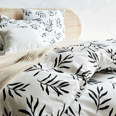 Housse de couette 240x260cm et 2 taies d'oreiller en coton - noir et blanc-ALOYSE