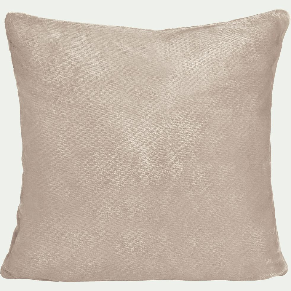 Housse de coussin effet polaire en polyester - rose argile 65x65cm-ROBIN
