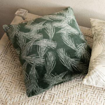 Coussin motif Pin d'alep en velours de coton - vert 40x40cm-PIN D'ALEP
