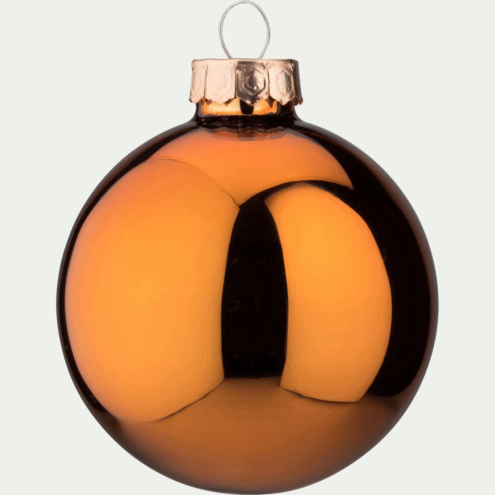 10 boules de Noël en verre cuivré D6cm-BOCCA