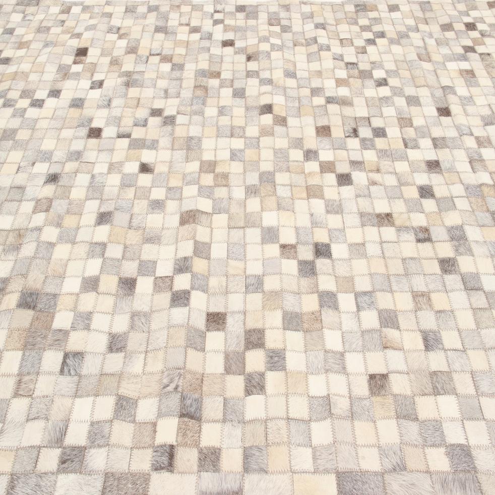 Tapis en cuir gris clair 200x300cm-LAYAN