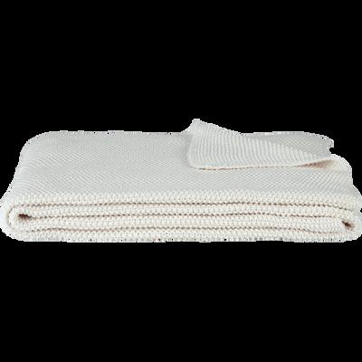 Plaid tricoté en coton blanc ventoux 130x170cm-VERDON