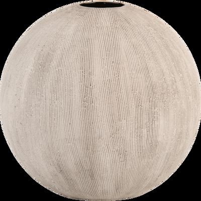 Vase en céramique beige strié H15 cm-DISO