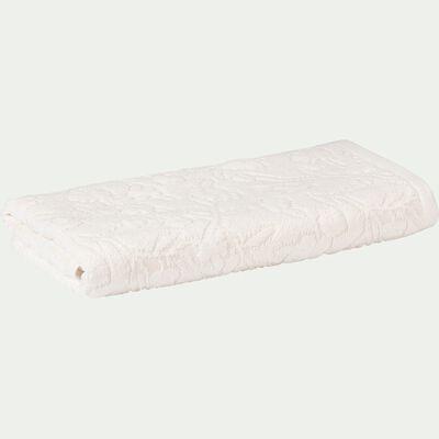 Serviette de toilette tissée plat en coton brodé - blanc nougat 50x100cm-DANGWA