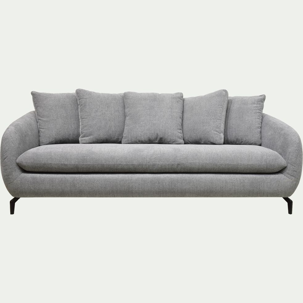 Canapé fixe 4 places en tissu piétement noir - gris ardoire-COLINE