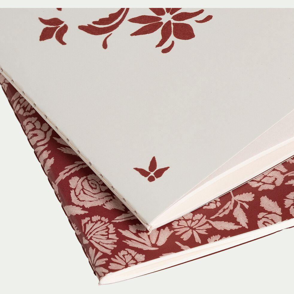 Lot de 2 carnets - rouge et blanc-ROSAE