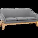Canapé 3 places fixe en tissu gris-VIK
