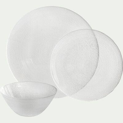 Assiette plate en verre strié D28cm-ATENA