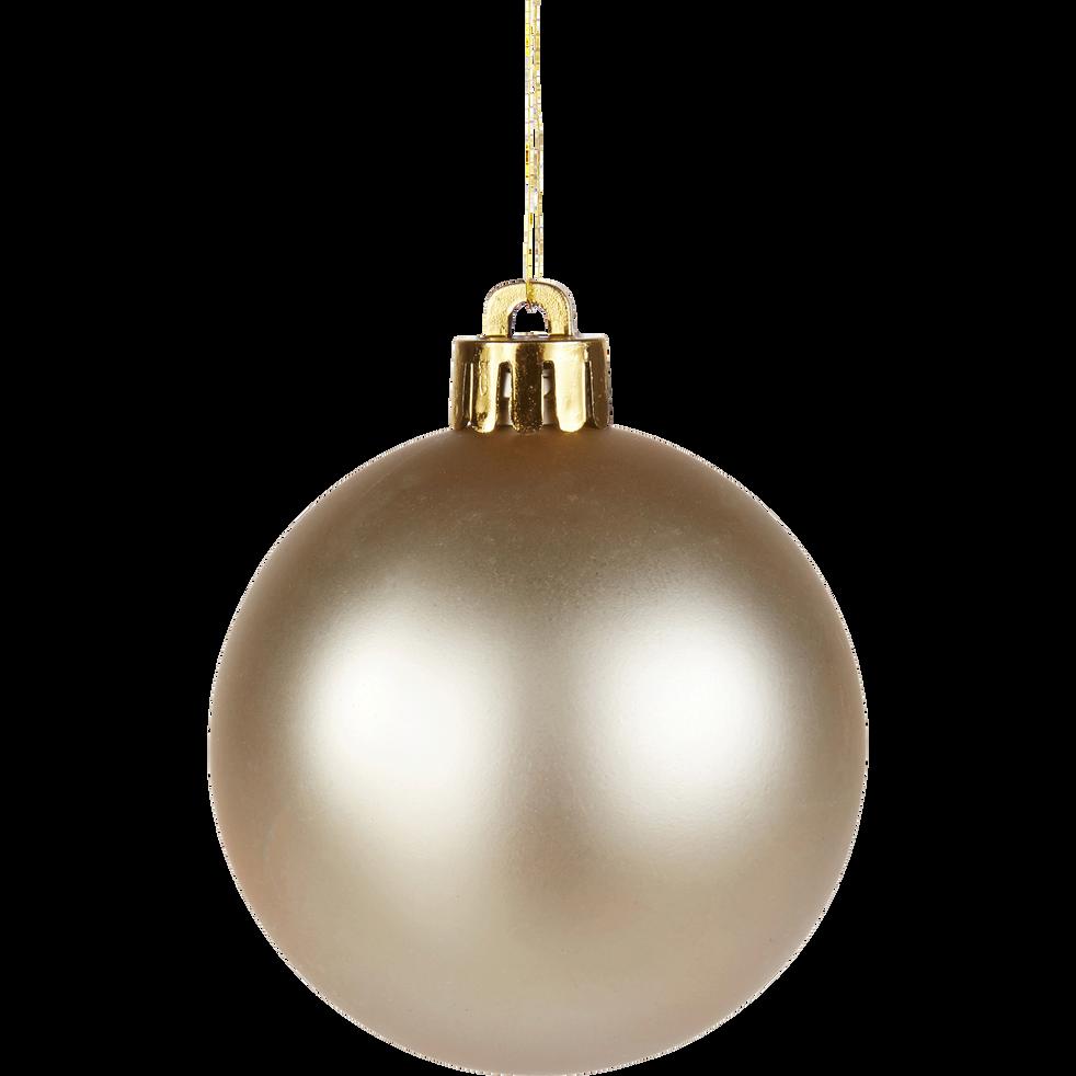 10 boules en plastique blanc perle D6cm-BAUS