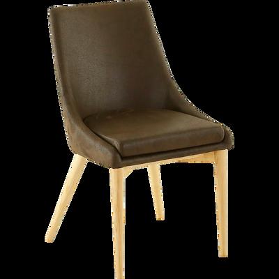 Chaise en microfibre marron-ABBY