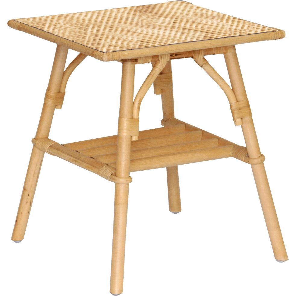 Bout de canapé en rotin avec plateau rectangulaire-CARTINA