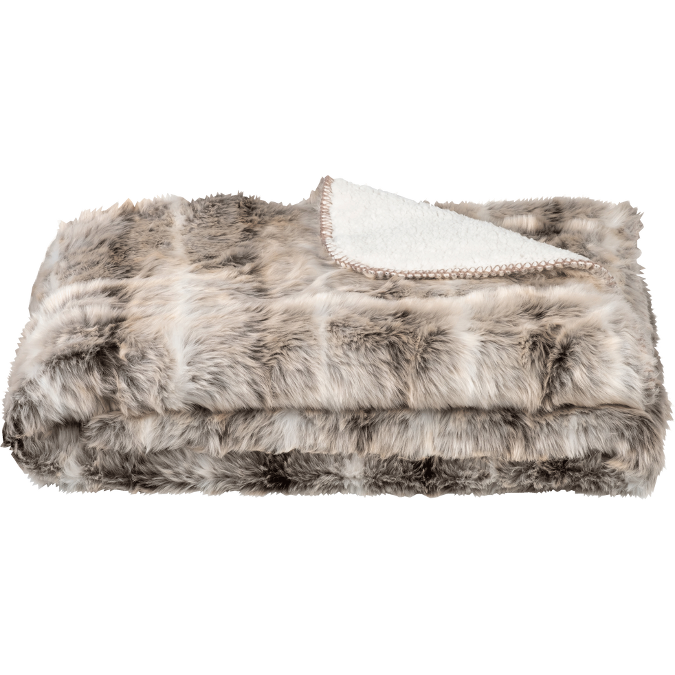 Plaid imitation fourrure beige 130x170 cm-LOUP