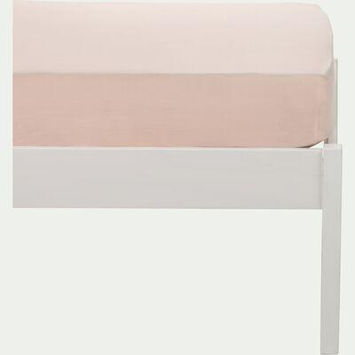 Drap housse en percale de coton lavé 70x140cm rose argile-PALOMA