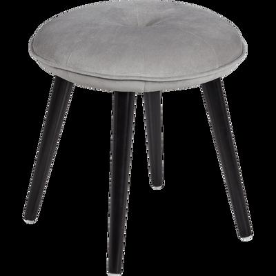Tabouret en velours gris borie - H45cm-AUGUSTIN