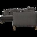 Canapé d'angle fixe gauche en tissu noir calabrun-ASTELLO
