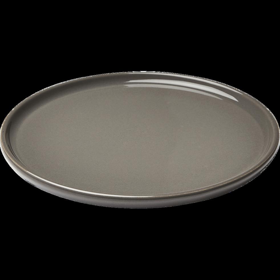 Assiette à dessert en faïence gris restanque D21cm-VADIM