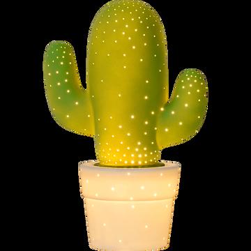 Lampe décorative à poser en céramique verte H30.5cm-CACTUS