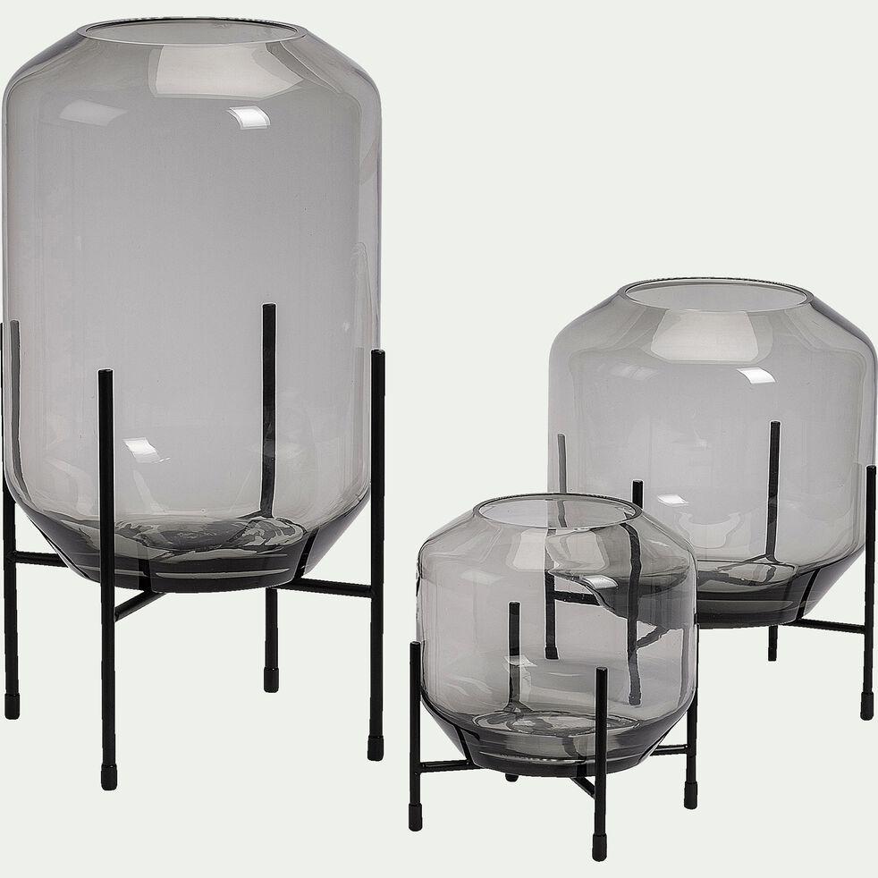 Photophore en verre - gris D20xH24,5cm-SAVERIU