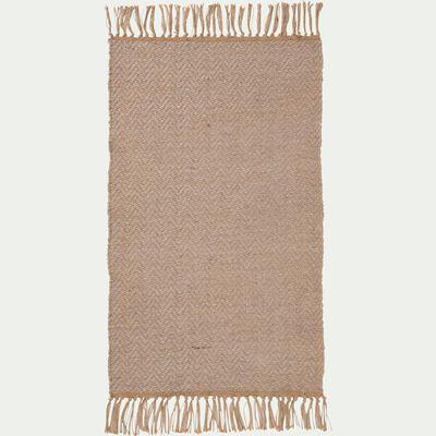 Tapis à franges en laine - naturel 60x100cm-TURAU