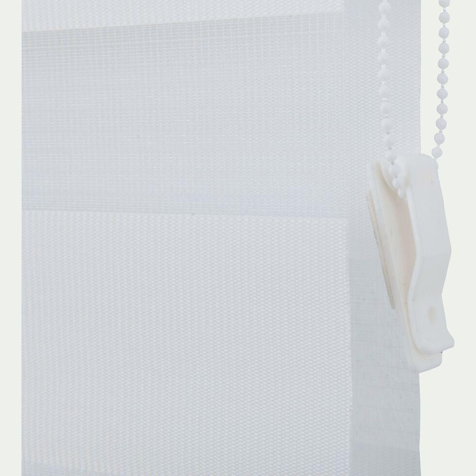 Store enrouleur tamisant blanc 52x190cm-JOUR-NUIT