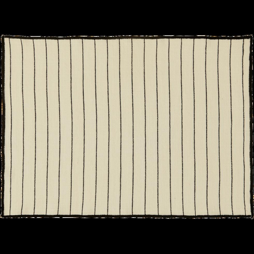 Set de table en coton blanc et noir 36x48cm-BADIANE