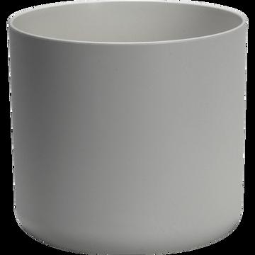 Cache-pot blanc en plastique H17xD18cm-B FOR