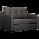 Canapé 2 places convertible déplimousse en tissu gris borie-VINYL