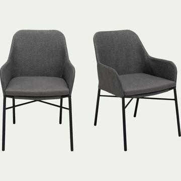 Chaise de jardin en métal et textilène avec accoudoirs gris-JORGI