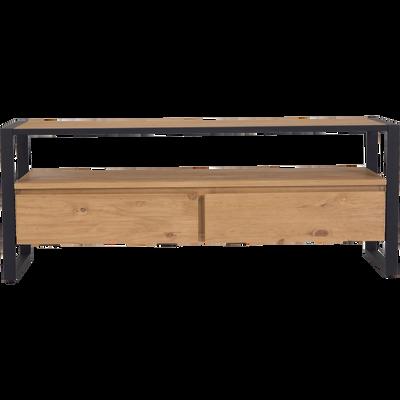 Meuble TV en pin massif et métal-ENDOUME