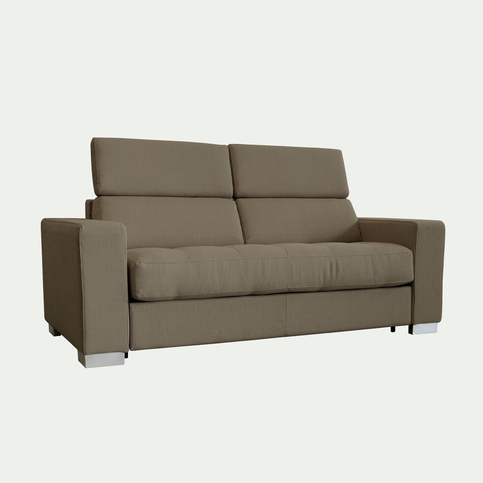 Canapé 2 places convertible en tissu avec accoudoir 20cm - taupe-MAURO