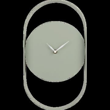 Horloge en métal coloré vert olivier-Chalcis