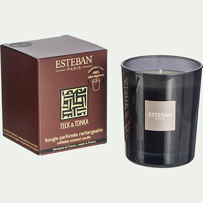 Bougie parfumée teck et tonka rechargeable - 170g noir-TECK ET TONKA