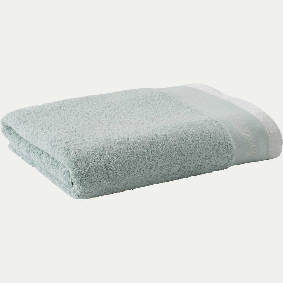 Drap de bain brodé en coton - vert tilleul 100x150cm-DORA