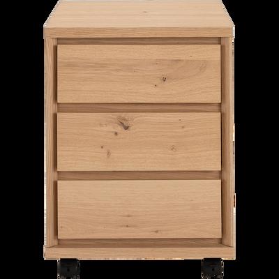 Caisson de bureau 3 tiroirs plaqué chêne H55cm-stockholm
