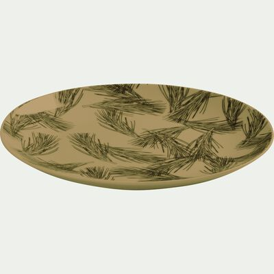 Assiette plate en porcelaine vert olivier décorée D26.5cm-PIN D'ALEP