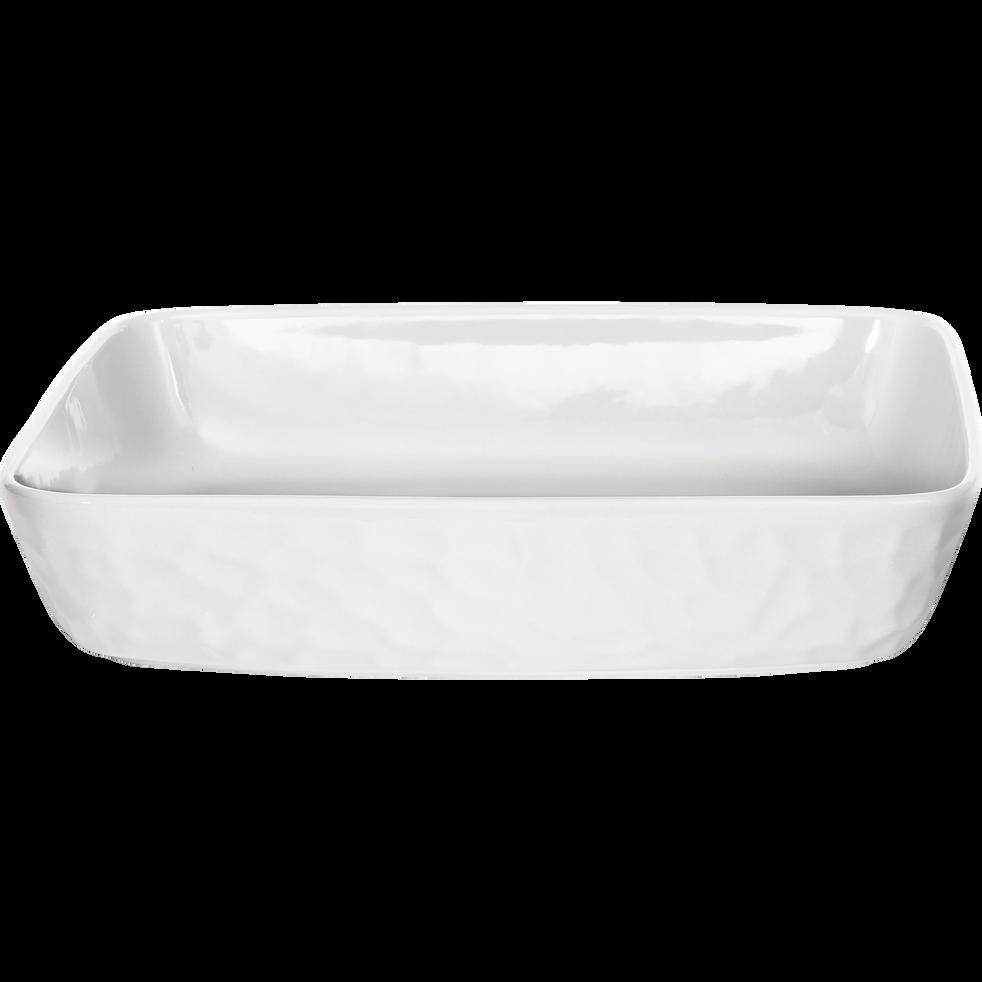 Plat à four rectangulaire en grès blanc - 32x25cm-MARTELLO