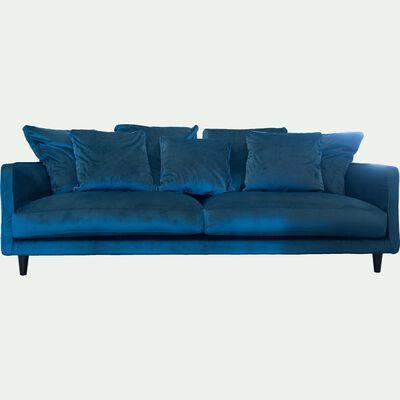 Canapé 4 places fixe en velours bleu figuerolles-LENITA