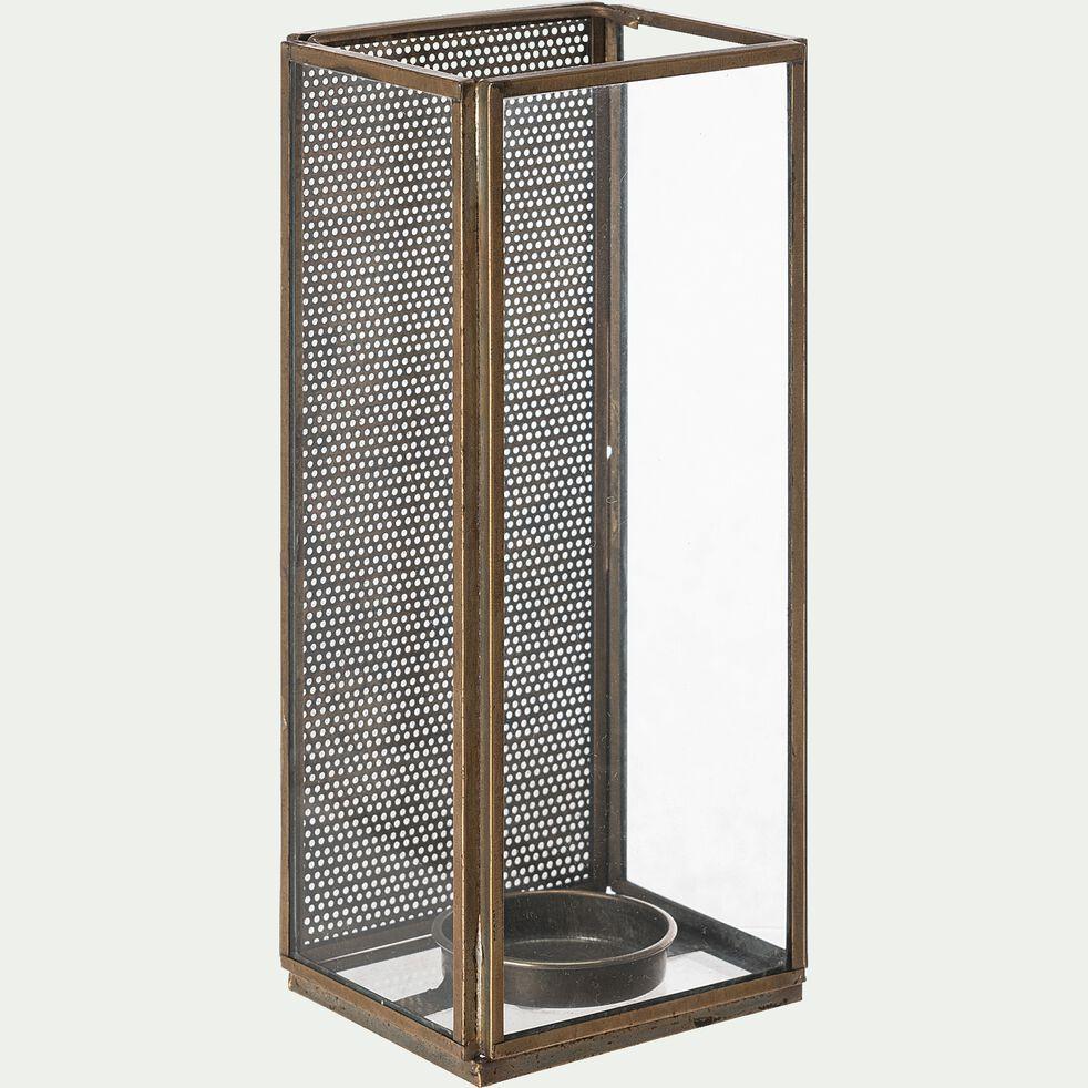 Photophore en métal  8x6x18cm - cuivré-LODURVA