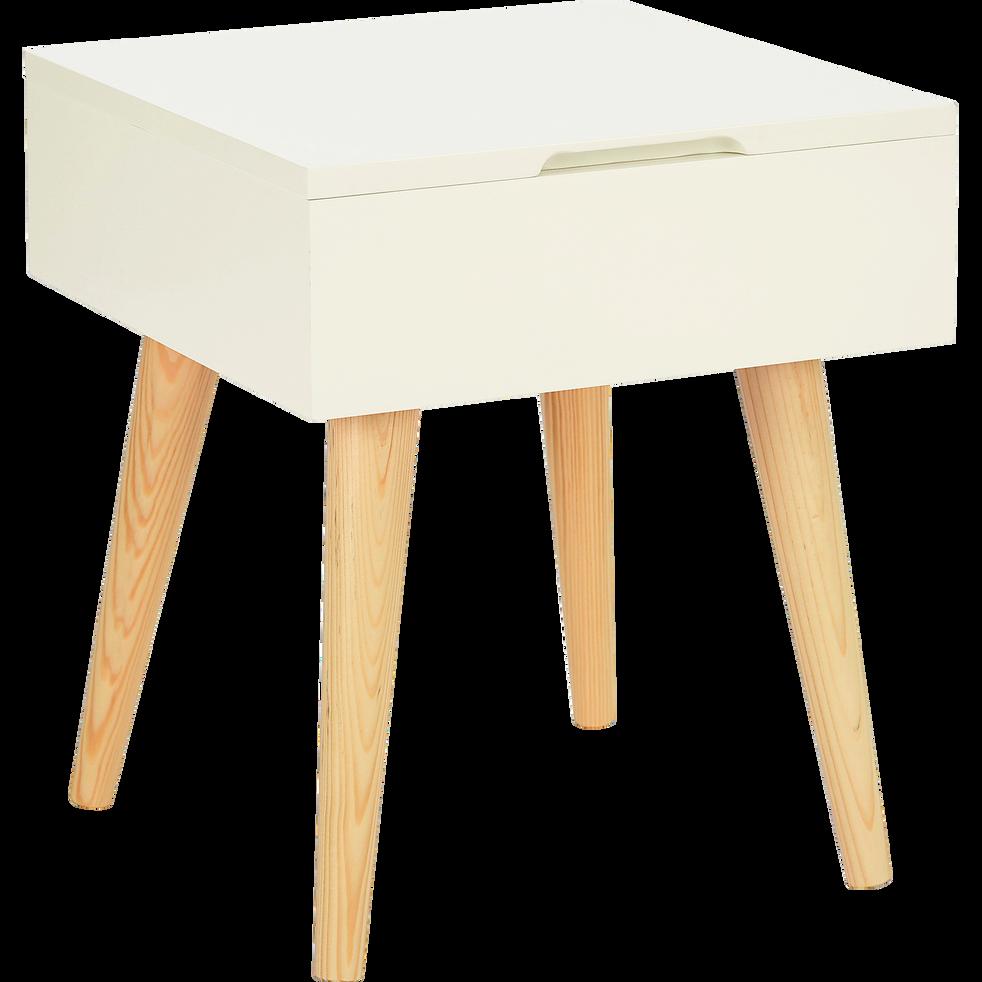 bout de canap carr blanc avec coffre de rangement rexxar bouts de canap alinea. Black Bedroom Furniture Sets. Home Design Ideas