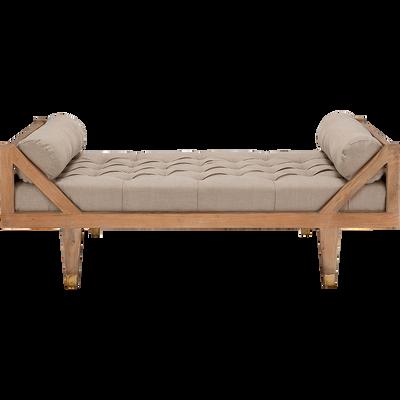 Banquette en manguier et lin longueur 191cm beige roucas-ANCE